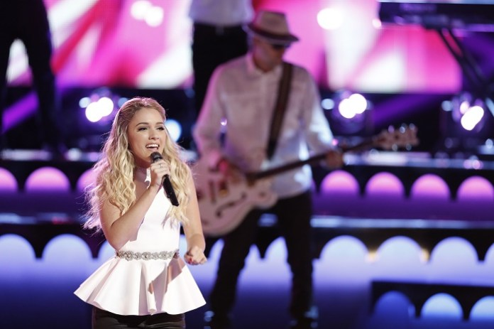 """THE VOICE -- """"Live Semis"""" -- Pictured: Emily Ann Roberts -- (Photo by: Tyler Golden/NBC)"""