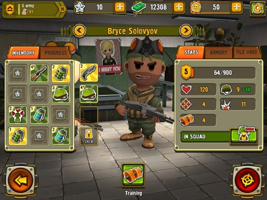"Tons of Weapons and Character skills customization in ""Pocket Troops."""