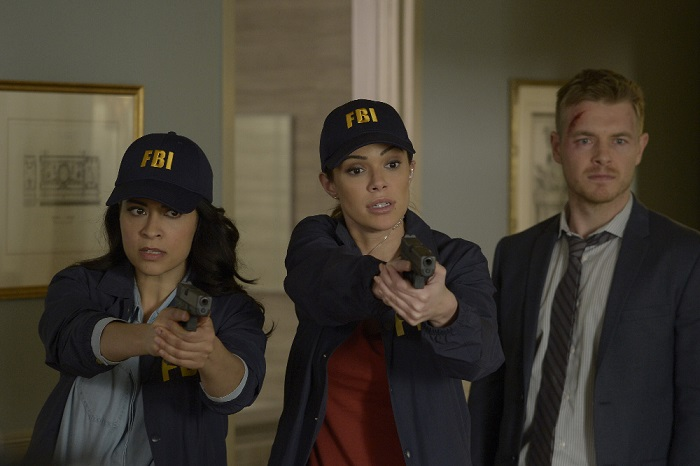 "QUANTICO - ""Inside"" - The terrorist responsible for the bombing of Grand Central Station is finally revealed, but instead of answers, more questions remain. While back at Quantico, the recruits receive a well-deserved few days off for the holidays, but not everyone is oh so merry when secrets are revealed and lines and blurred, on ""Quantico"" SUNDAY, DECEMBER 13 (10:00--11:00 p.m., EST) on the ABC Television Network. (ABC/Phillipe Bosse) YASMINE AL MASSRI, ANABELLE ACOSTA, RICK COSNETT"