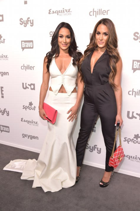 """NBCUNIVERSAL CABLE ENTERTAINMENT UPFRONT -- """"2015 NBCUniversal Cable Entertainment Upfront at the Javits Center in New York City on Thursday, May 14, 2015"""" -- Pictured: Brie Bella, Nikki Bella, """"Total Divas"""" on E! Entertainment -- (Photo by: Theo Wargo/NBCUniversal Cable Entertainment)"""