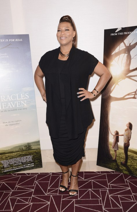 """WEST HOLLYWOOD, CA - March 4th 2016 Queen Latifah seen at Columbia Pictures """"Miracles From Heaven"""" Photo Call at The London"""