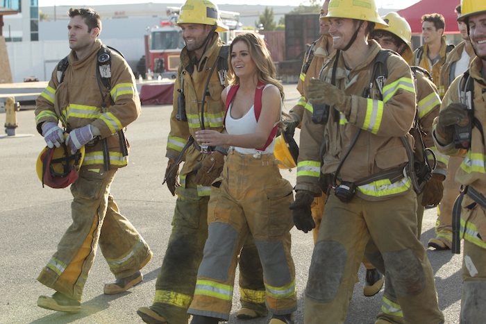 "THE BACHELORETTE - Twenty anxious men look to get their love story with JoJo off to a good start. The the first group date give ten lucky bachelors a chance to see sparks fly when they head for a firefighting training facility, where one of the guys might need saving himself. JoJo and Derek get to pick their own adventure, and they choose a romantic picnic by the Golden Gate Bridge in San Francisco. Six bachelors get a dream date to ESPN's popular ""SportsNation"" with hosts Max Kellerman and Marcellus Wiley. They are sure they will be able to help JoJo find a perfect match, but Chad seems determined to ""shock and awe"" all the way up to the rose ceremony, on ""The Bachelorette,"" (ABC/Rick Rowell) JAMES F., ROBBY, JOJO FLETCHER, LUKE"