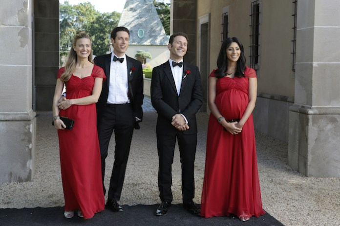 """ROYAL PAINS -- """"The Good News Is...""""-- Pictured: (l-r) Brooke D'Orsay as Paige Collins, Paulo Costanzo as Evan Lawson, Mark Feuerstein as Dr. Hank Lawson, Reshma Shetty as Divya Katdare -- (Photo by: Giovanni Rufino/USA Network)"""