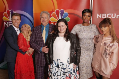 "NBCUniversal Summer Press Tour, August 2, 2016 -- NBC's ""Hairspray Live!"" cast -- Pictured: (l-r) Derek Hough, Kristin Chenoweth, Harvey Fierstein, Maddie Baillio, Jennifer Hudson, Ariana Grande -- (Photo by: Chris Haston/NBCUniversal)"