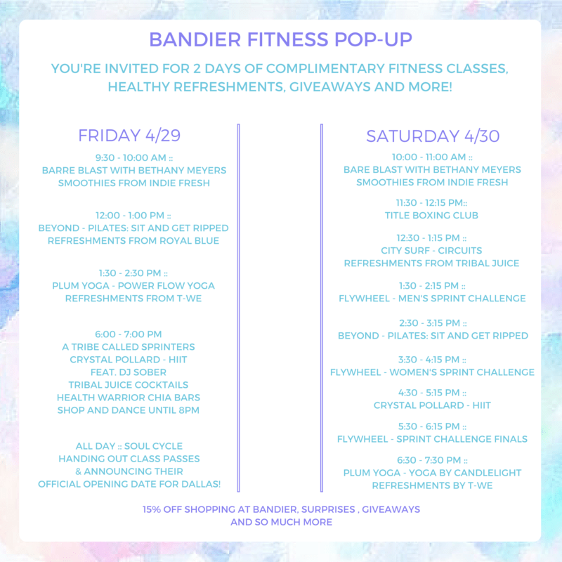 BANDIER FITNESS POP-UP