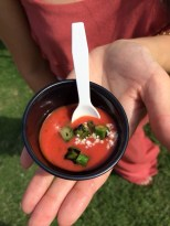 Strawberry gazpacho (cold soup) from Casa Rubia