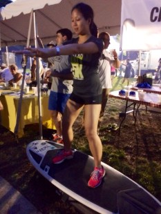 Doing squats on a surfboard with City Surf. Harder than it looks, but soo fun.