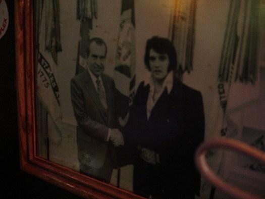 Elvis and Nixon Pic on Wall at Dreamland in Tuscaloosa AL