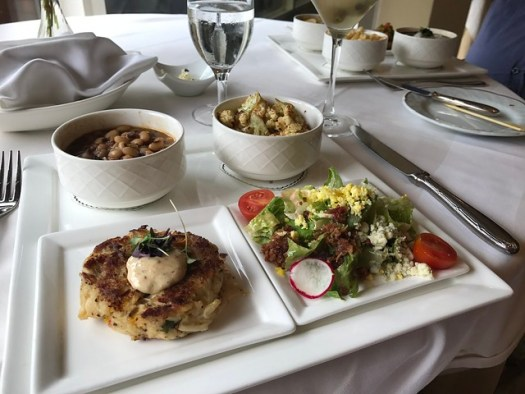 Crab Cake Remoulade, salad, hoppin john, roasted cauliflower  The Grill Room, Windsor Court Hotel, New Orleans