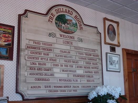 Dillard House Menu, Dillard GA