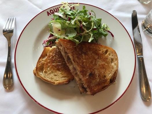 Duck Presse: duck confit, dijonaise, gruyere, pan au levain. Aquitaine, Boston MA