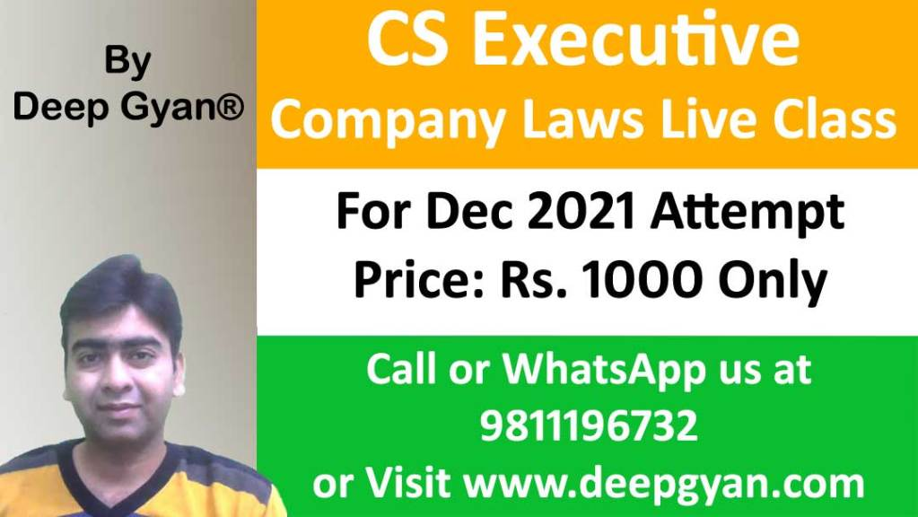 CS Executive Live Classes of Company Law