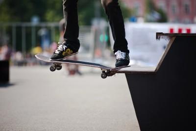 Skateboarder going all in