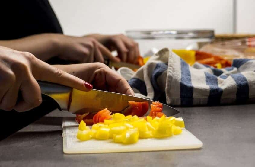 Cutting Vegetables Cook Fruit Woman Hands Cooking