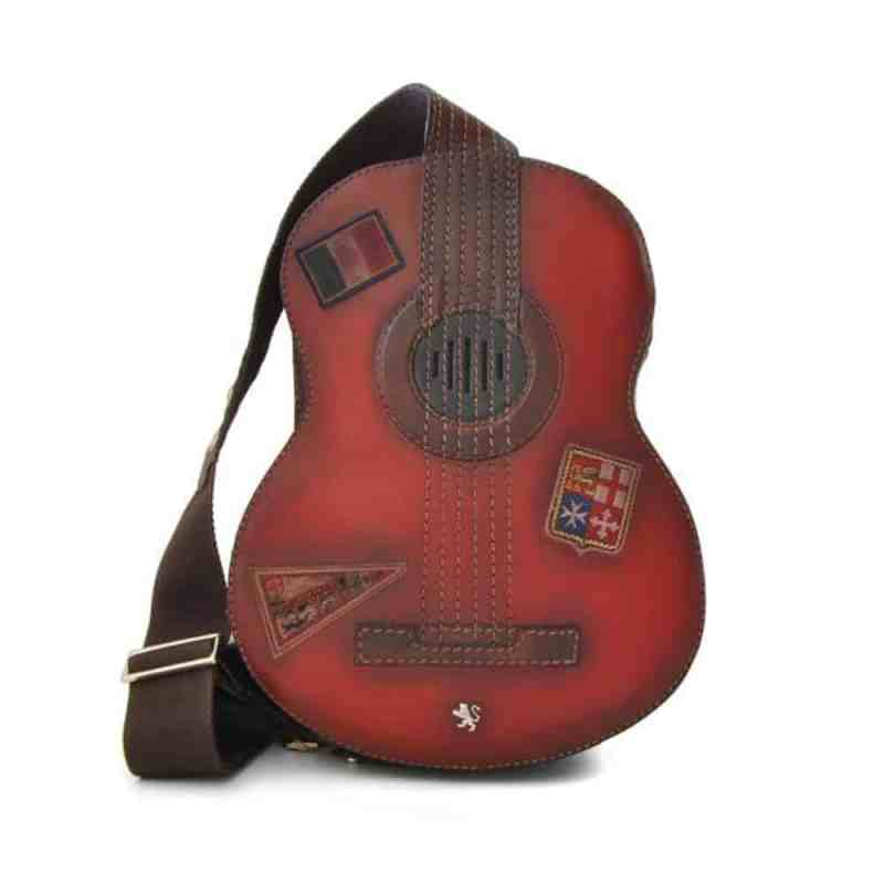 Guitar shaped leather backpack