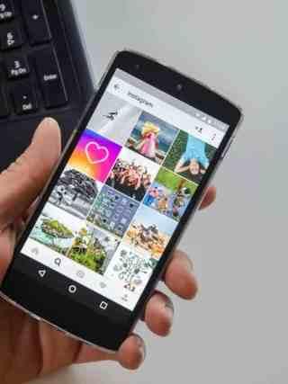 Instagram grid on mobile phone
