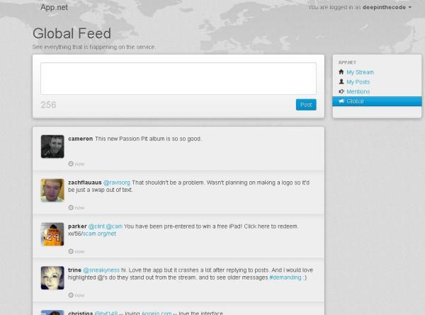 Screenshot of the App.net Global Feed