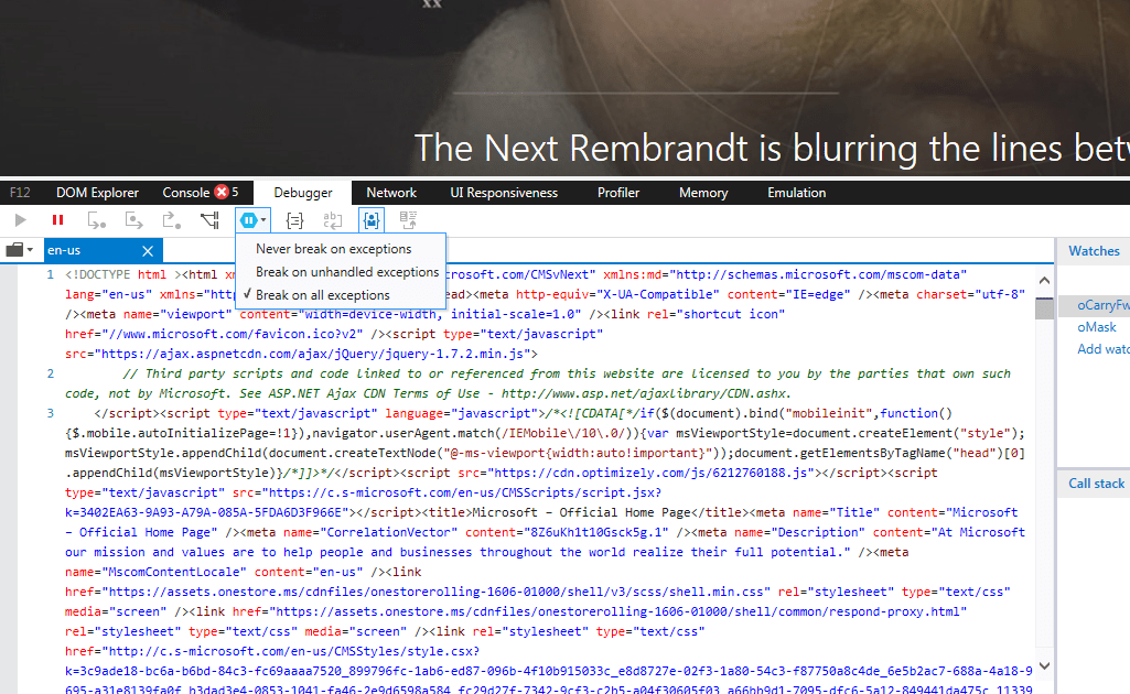 IE 11 Developer Tools window