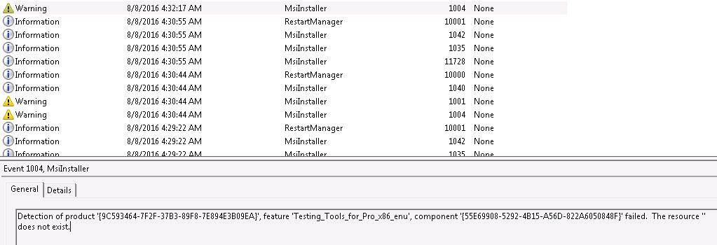 Application log entry