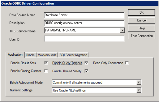 ODBC config on new server