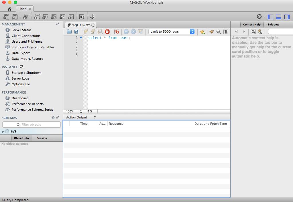 MySQL Workbench with missing Results Grid