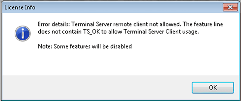 Terminal Server remote client not allowed dialog box