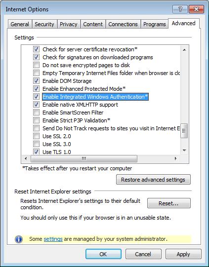 Internet Options box - Advanced tab