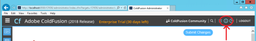 ColdFusion 2018 admin screen system information link