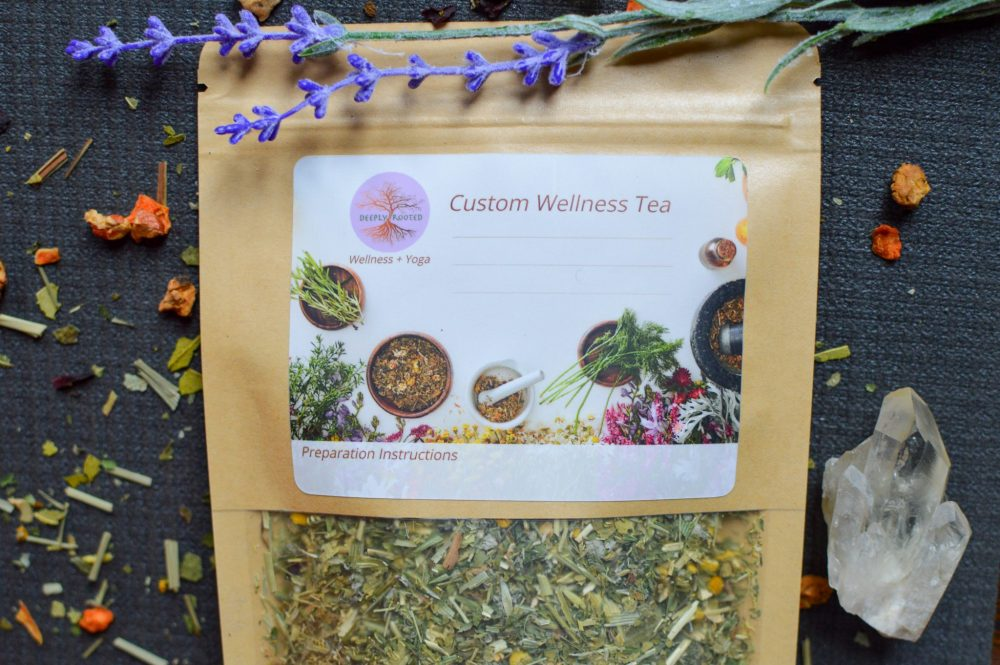 custom herbal tea for wellness by Deeply Rooted Wellness + Yoga