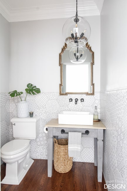 Patterned Hexagon Powder Room DeeplySouthernHome