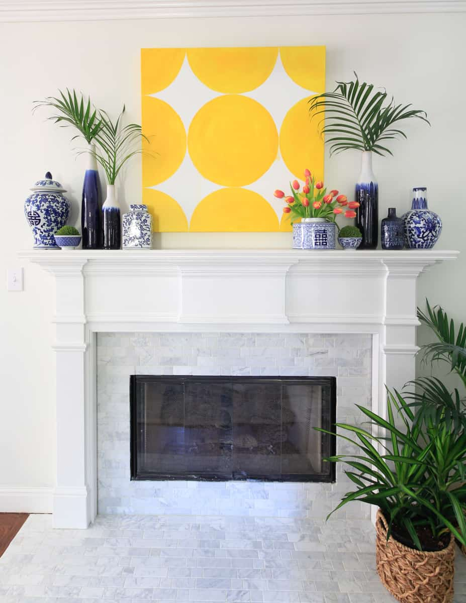 marble tile fireplace makeover deeply
