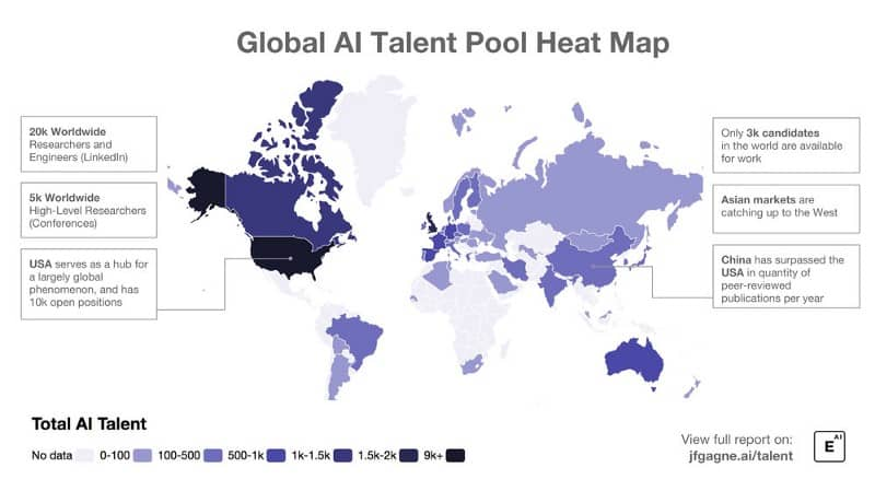 Global AI talent pool heat map.
