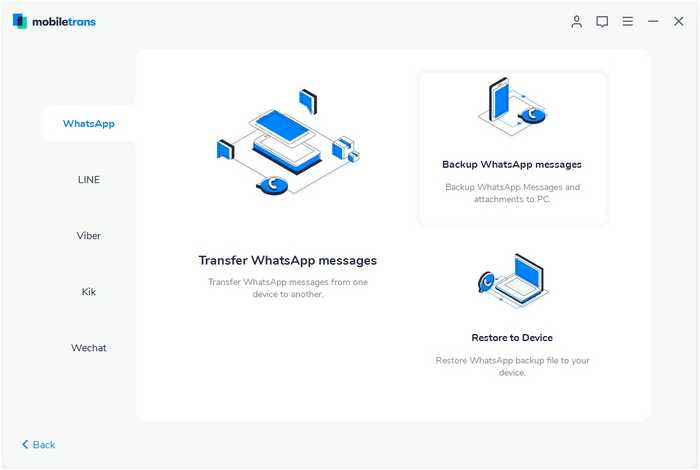 الطريقة الأولى نقل WhatsApp من Android إلى iPhone عبر MobileTrans -