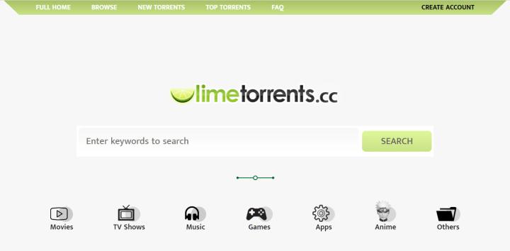 6.  أفضل مواقع التورنت Limetorrents.cc