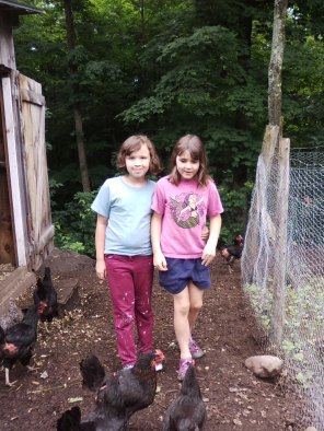 girls and chickens