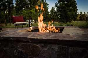 Firepit illuminating a beautiful summer night