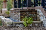 Trees and drought tolerant plantings to accent water feature