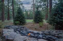 Locally harvested malpais fire feature framed by evergreen trees and shrubs