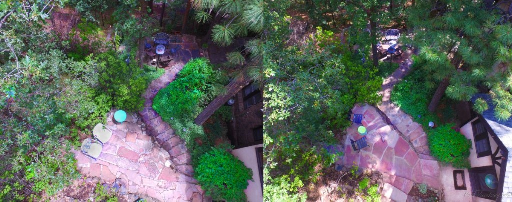 Before and after aerial pictures of the flagstone patio, stairs, and walkway on the opposite end of the home