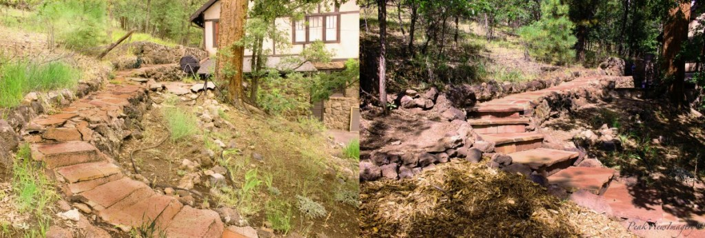 Before and after pictures of the top of the flagstone stairs and walkway leading to the flagstone patio