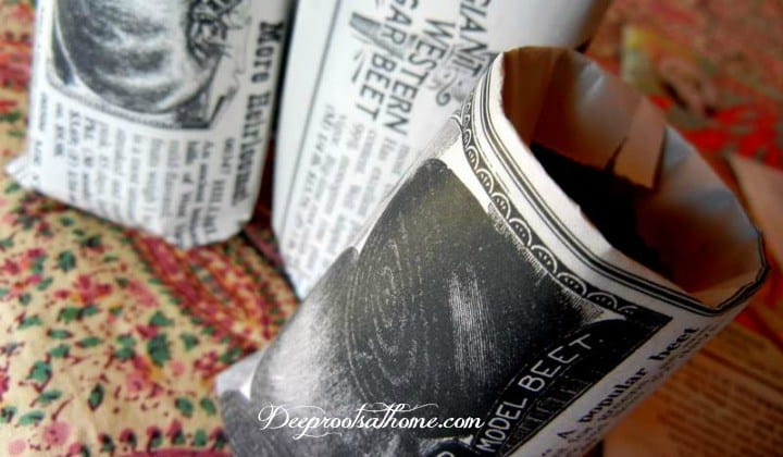 How To Make Your Own Funky Little Newspaper Seedling Pots, potting mixture, thrift, frugal, biodegradable, directions, instructions, Julie Moir Messervy, quote, planting, little seeds, peet pots, little plant pots, easy-to-do, rolled seed pots, handmade, sow spring seeds, homemade pots, seed starting pots, seedlings, sowing inside, gardening, garden, soil, germinating, sprouts, Shumway seed catalog