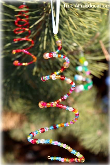 Vibrant, Beaded Christmas Tree Ornaments: Hand-Made For Keeps, fancy ornaments, homemade, handmade, cherish, favorite, colorful, small beads, seed beads, pony beads, kid-made, fun, homeschool, keeper, supplies, 16-gauge wire, card stock, cone-shaped, styrofoam cone form, larger beads, hold its shape, long, pipe cleaners, Christmas trees, beautiful ideas, beaded star, cross, technique, True Aim, Janine, Briton, blog, curriculum, preschooler, craft, homeschooling, homeschool, children, parenting, crafting, decorating, DIY,