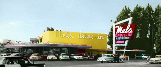 A patrol car cruises past Mels (bottom left). This scenario would be replicated 15 years later in American Graffiti.