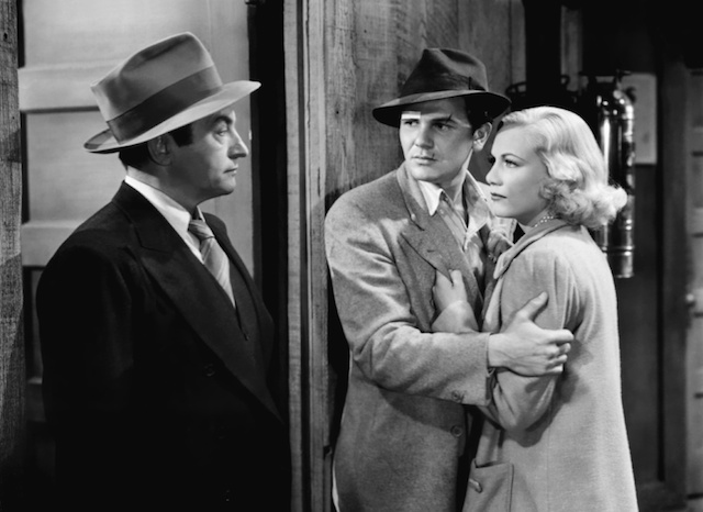 Claude Rains (Detective Phelan), John Garfield (Johnny Bradfield) and Gloria Dickson (Peggy) in They Made Me a Criminal