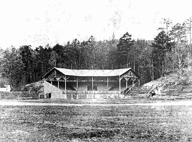 Ban Johnson Field, in Whittington Valley, near Hot Springs, Arkansas, circa 1920. Apart from the grandstand behind home plate, this looks remarkably like the field in Red Bank, NJ, upon which the Record World Flashmakers and the E Street Kings staged an epic tripleheader in the Summer of 1976. Baseball buffs take note: on St. Patrick's Day, March 17, 1918, Babe Ruth hit two home runs in a game here, one traveling 573 feet and singled out by baseball historian Bill Jenkinson as transforming baseball from a game of incremental singles and doubles to a sport dominated by power hitters.