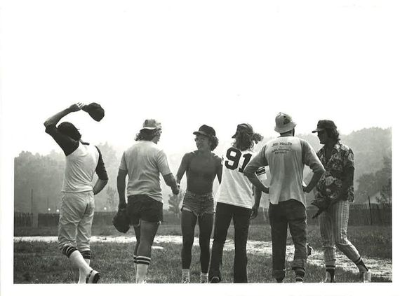 Shaking hands all around post-Weedstock. From left: RW fashion plate David Herscher; Vietnam Vet/former All-State tackle at Tulsa Central High School Richard 'Mox the Box' Moxley, imported as Howie Levitt's battery mate especially for this contest; Bruce Springsteen; David McGee; the legendary Howie 'Ol Ragarm' Levitt, still fresh after dazzling the E Street Kings for 14 innings with his famed and feared Semitic Screwball; Springsteen road manager Rick Seguso. (Photo by Ira Mayer.)