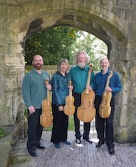 Rose Consort of Viols: (from left) John Bryan, Alison Crum, Andrew Kerr, Roy Marks