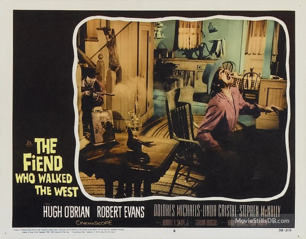 A lobby card for The Fiend Who Walked the West