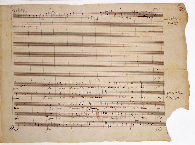 'We see nothing more from his pen after the end of 'Hostias' except the words 'Quam olim da Capo'.' This is the end of Mozart's original autograph score.