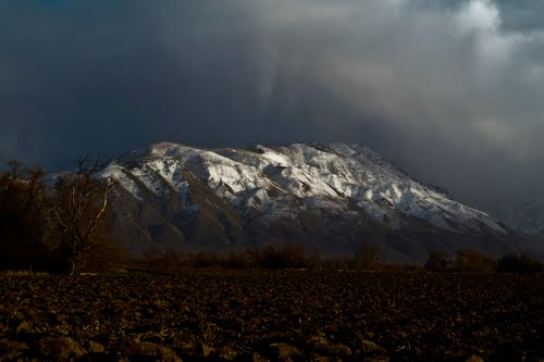 'The snowy skirts of the Wahsatch Mountains appeared beneath the lifting fringes of the clouds, and the sun shone out through colored windows, producing one of the most glorious after-storm effects I ever witnessed.' (Photo: Ralph Maughan)